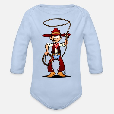 Lasso Cowboy with a lasso - Organic Long-Sleeved Baby Bodysuit