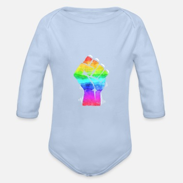 Fist Fight POWER FIST LGBT Fist Fighting Gay Pride CSD PRIDE - Organic Long-Sleeved Baby Bodysuit
