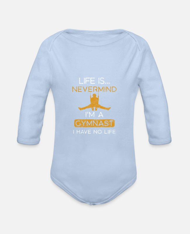 Beautiful Baby Bodysuits - gymnastics - Organic Long-Sleeved Baby Bodysuit sky