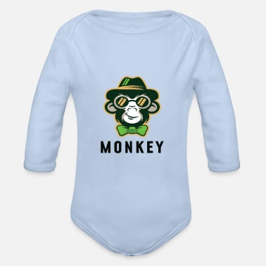 Apelike Monkey with hat - Organic Long-Sleeved Baby Bodysuit