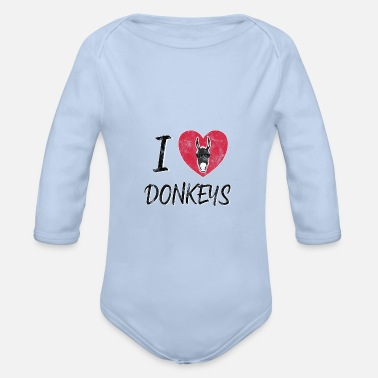 Mule Donkey mules mule gray animal mule gift idea - Organic Long-Sleeved Baby Bodysuit
