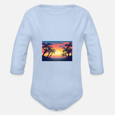 palm tree silhouettes wallpaper2020 - Organic Long-Sleeved Baby Bodysuit