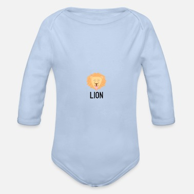 Letter Lion black lettering sign crittercontest - Organic Long-Sleeved Baby Bodysuit