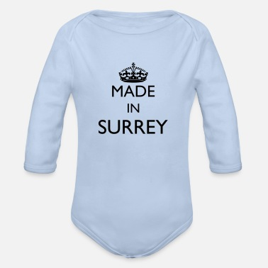 Personalise Personalise: Made In Surrey - Organic Long-Sleeved Baby Bodysuit