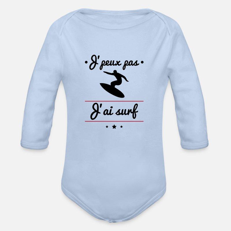 J'peux pas j'ai surf, surfeur, surfeuse Body Bébé bio manches longues - ciel