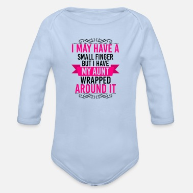 Aunt wrapped around her finger - niece & nephew - Organic Long-Sleeved Baby Bodysuit