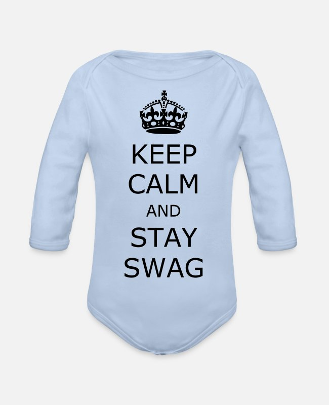 Keep Calm Baby Bodysuits - Keep calm and stay swag - Organic Long-Sleeved Baby Bodysuit sky
