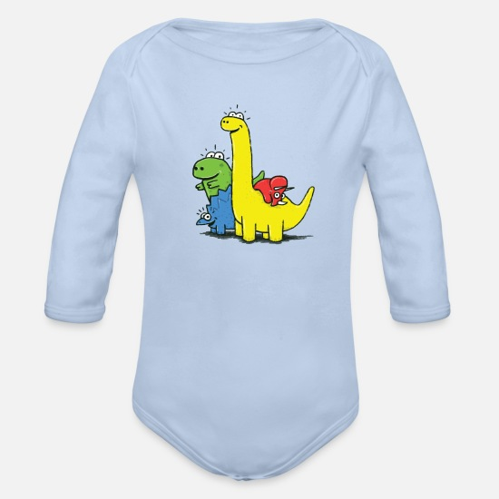 Collections  Babykleding - Dino Gang, Colored - Rompertje met lange mouwen sky