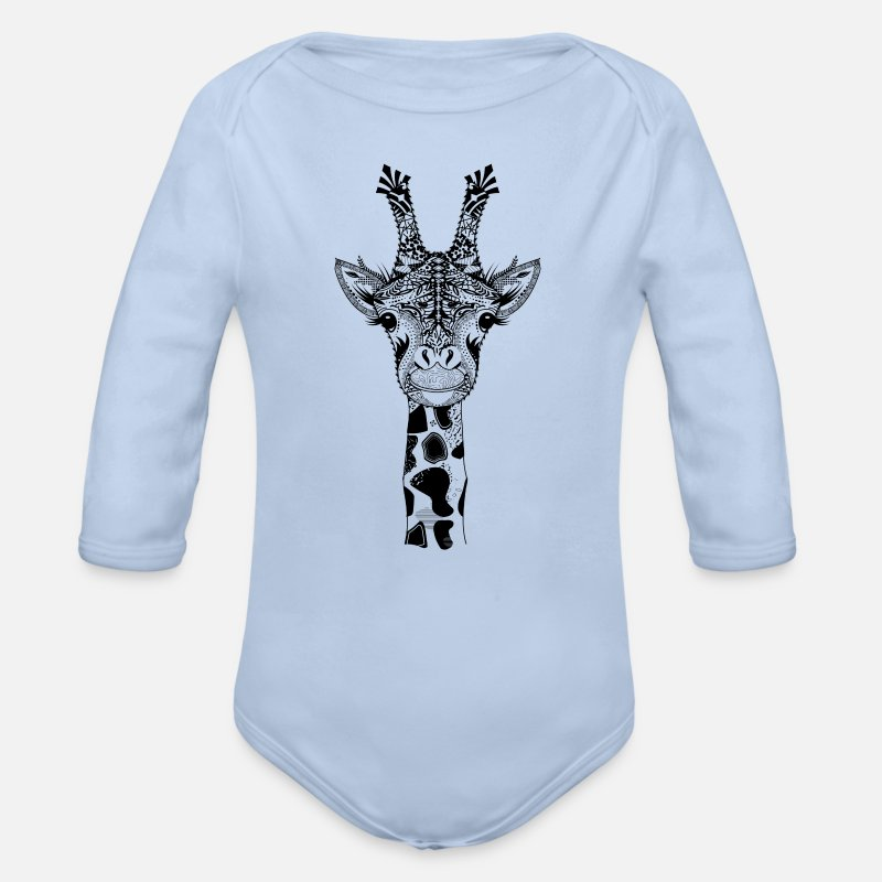 Bestsellers Q4 2018 Baby Clothing - A head of a giraffe - Organic Long-Sleeved Baby Bodysuit sky