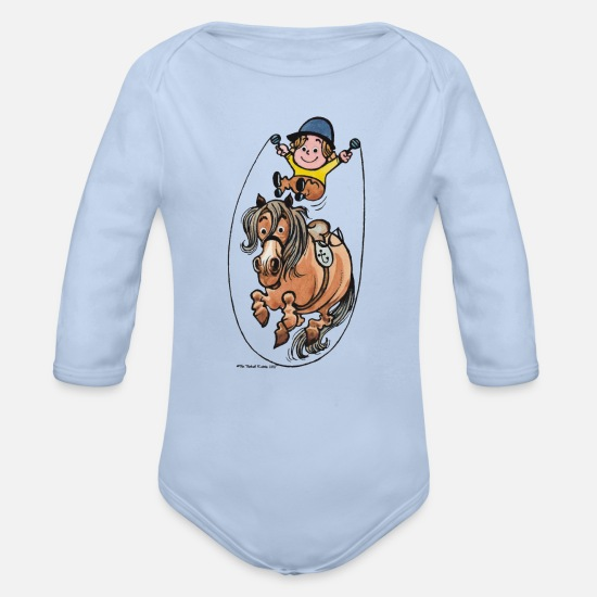 Horse Baby Clothes - Thelwell Funny Rope Jumping Horse And Rider - Organic Long-Sleeved Baby Bodysuit sky