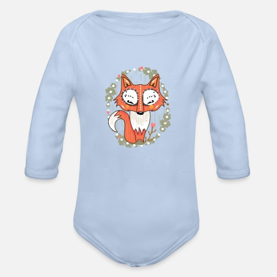 Baby Shower Baby Clothes - a small fox in the forest - Organic Long-Sleeved Baby Bodysuit sky