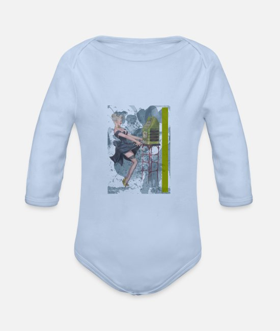 Bombshell Baby Bodysuits - pin-up - Organic Long-Sleeved Baby Bodysuit sky