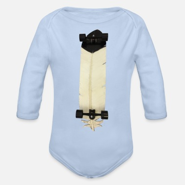 Longboard feather gift idea - Organic Long-Sleeved Baby Bodysuit