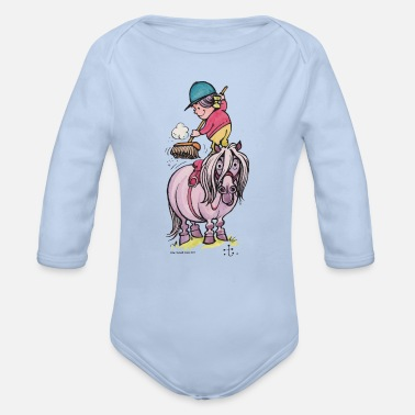 Officialbrands Thelwell Rider Cleaning Their Horse - Organic Long-Sleeved Baby Bodysuit