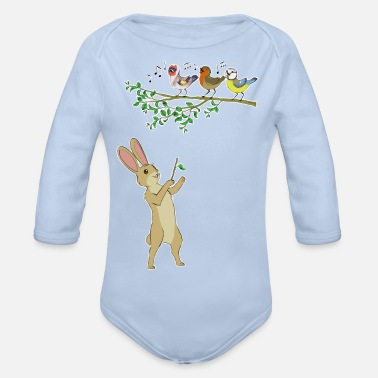 Musical animals - hare and birds - Organic Long-Sleeved Baby Bodysuit
