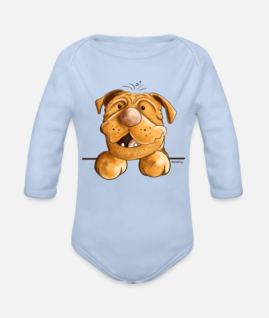 Drawing Baby Bodysuits - Happy Dogue de Bordeaux - Organic Long-Sleeved Baby Bodysuit sky