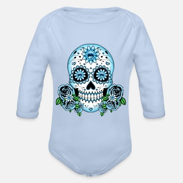 Skull Blue Sugar Skull - Organic Long-Sleeved Baby Bodysuit
