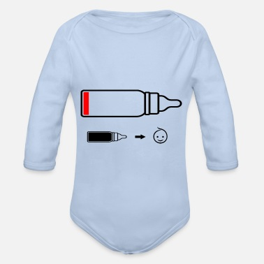 Vial Baby battery or vial empty - Organic Long-Sleeved Baby Bodysuit