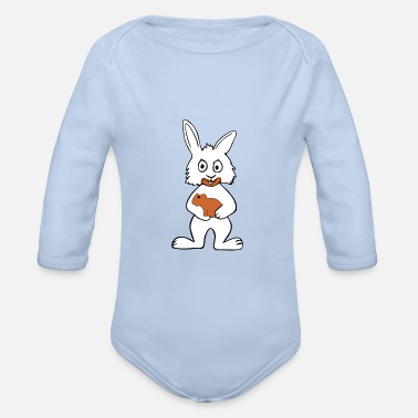 Crazy Easter Bunny & Chocolate - Organic Long-Sleeved Baby Bodysuit
