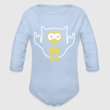 growling owl no text - Organic Longsleeve Baby Bodysuit
