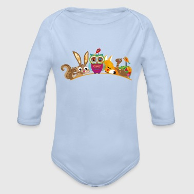 eight forest animals - Organic Longsleeve Baby Bodysuit