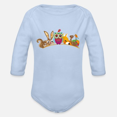 Animal eight forest animals - Organic Longsleeve Baby Bodysuit
