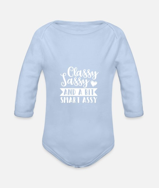 Gift Baby bodies - Classic Stoute Clever Sayings Gift Heart Lady - Rompertje met lange mouwen sky