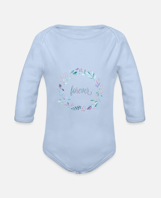 Nature Baby Bodysuits - Forever - Organic Long-Sleeved Baby Bodysuit sky