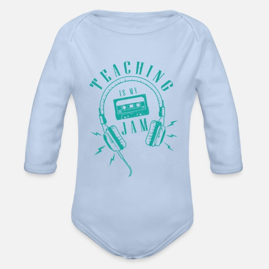 Play Baby Clothes - Music teacher / school / tutoring / gift music - Organic Long-Sleeved Baby Bodysuit sky