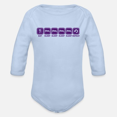 Sleeping Eat, sleep, sleep, sleep, - Organic Longsleeve Baby Bodysuit