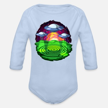 Circle Alien Abduction Crop Circles UFO - Organic Long-Sleeved Baby Bodysuit
