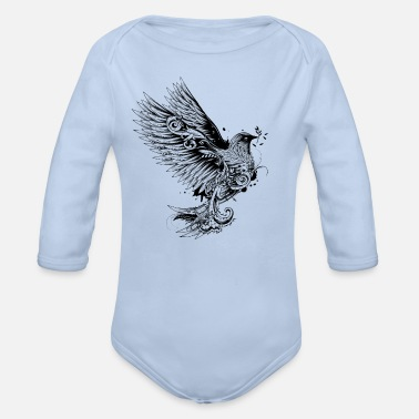 Beak dove with branch in its beak - Organic Longsleeve Baby Bodysuit