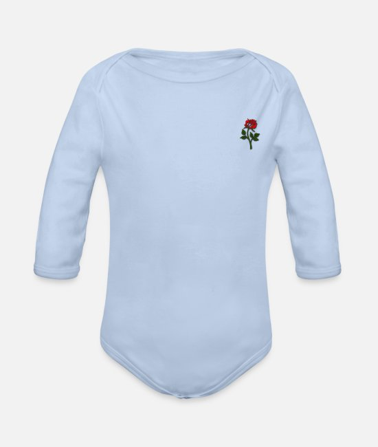 Garden Baby Clothes - Romantic red rose - Organic Long-Sleeved Baby Bodysuit sky