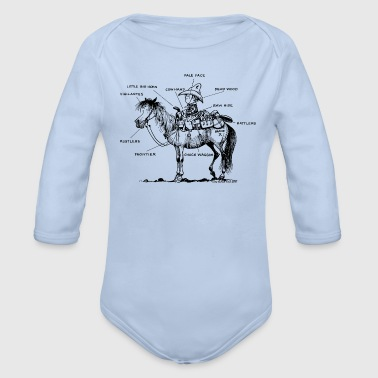 Western Riding Thelwell 'Learning Western riding' - Organic Longsleeve Baby Bodysuit