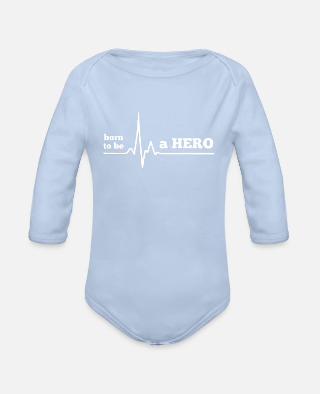 Bester Baby Bodys - BORN TO BE A HERO - Baby Bio Langarmbody Sky