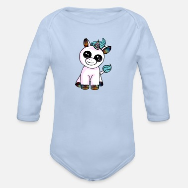 Unicorno kawaii con motivi colorati | animali kawaii - Body a manica lunga per neonati