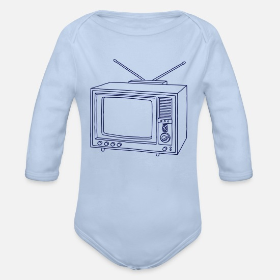 Tv Baby Clothes - Television set TV  - Organic Long-Sleeved Baby Bodysuit sky