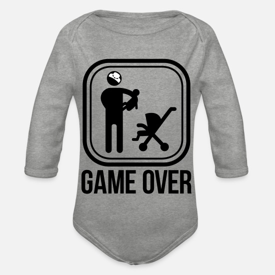 Game Over Baby Clothes - game over - Organic Long-Sleeved Baby Bodysuit heather grey