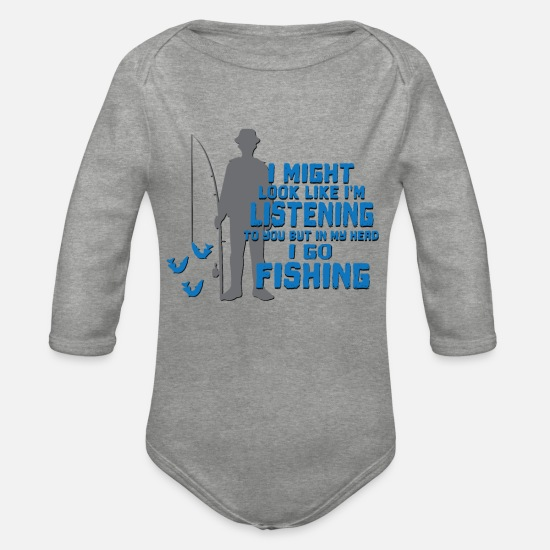 Gift Idea Baby Clothes - I'm fishing in my head - Organic Long-Sleeved Baby Bodysuit heather grey