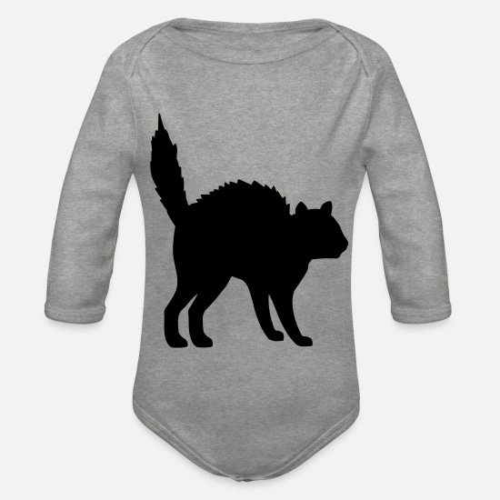 Halloween Baby Clothes - Cat in Halloween Pose - Organic Long-Sleeved Baby Bodysuit heather grey