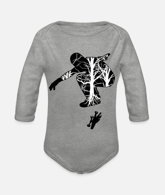 Sk8 Baby Clothes - Skate UK - Organic Long-Sleeved Baby Bodysuit heather grey