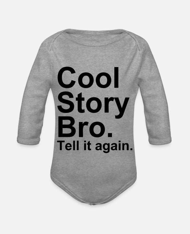 Meme Baby Bodysuits - Cool Story Bro - Organic Long-Sleeved Baby Bodysuit heather grey