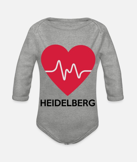 Tourism Baby Bodysuits - heart Heidelberg - Organic Long-Sleeved Baby Bodysuit heather grey