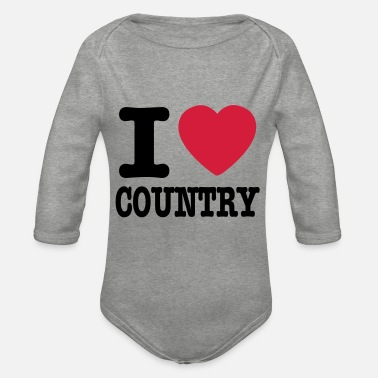 Country i love country / i heart country - Økologisk langærmet babybody