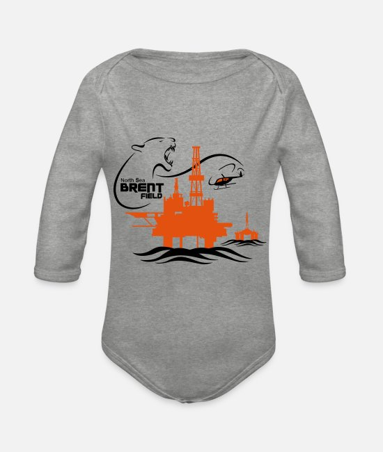 Brent Field Baby Bodysuits - Brent Oil Field North Sea Aberdeen - Organic Long-Sleeved Baby Bodysuit heather grey