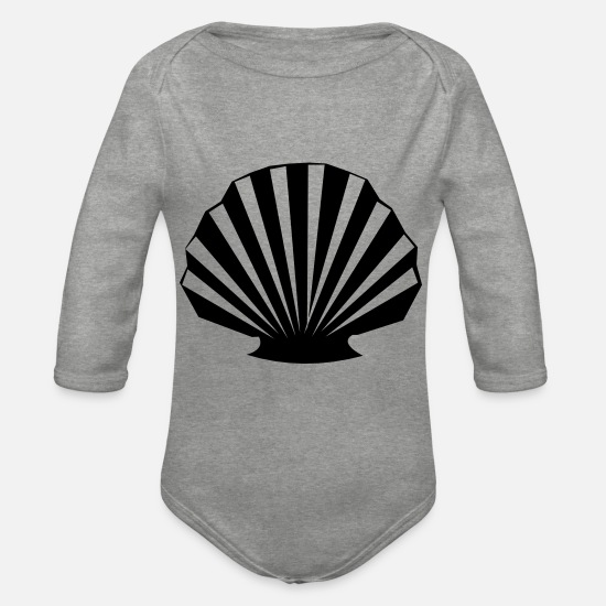 Sea Baby Clothes - Shell - Organic Long-Sleeved Baby Bodysuit heather grey