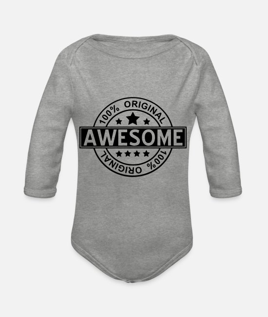 Super Baby Bodysuits - awesome - Organic Long-Sleeved Baby Bodysuit heather grey