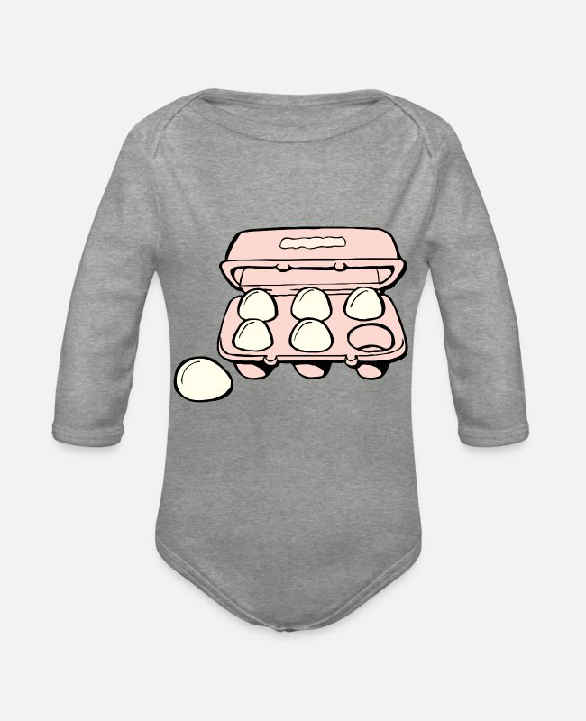 Hen Baby Bodysuits - eggs eggs easter easteregg easter eggs easter110 - Organic Long-Sleeved Baby Bodysuit heather grey