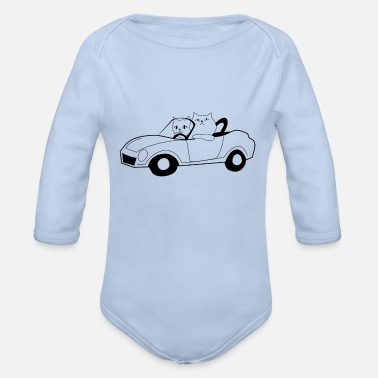 Convertible Cats in the convertible - Organic Long-Sleeved Baby Bodysuit