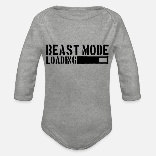 Beast Mode Baby Clothes - Beast Mode Loading Power - Organic Long-Sleeved Baby Bodysuit heather grey